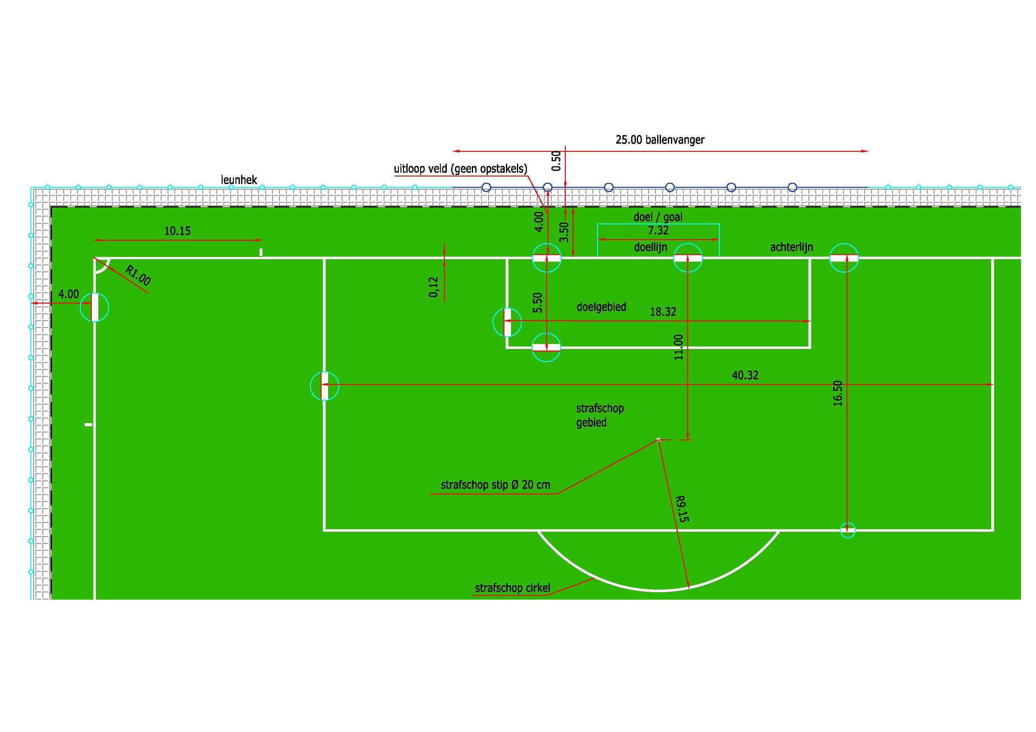 Voetbalveld afmeting en belijning
